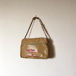 Vintage Caramel Carry On Bag + Pink Lettering
